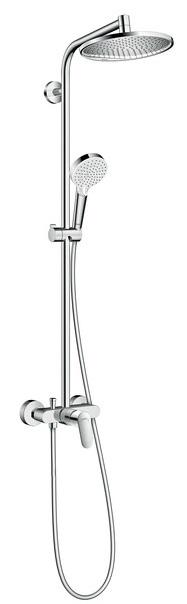 Showerpipe Hansgrohe Crometta E240 1 jet crom cu baterie dus inclusa