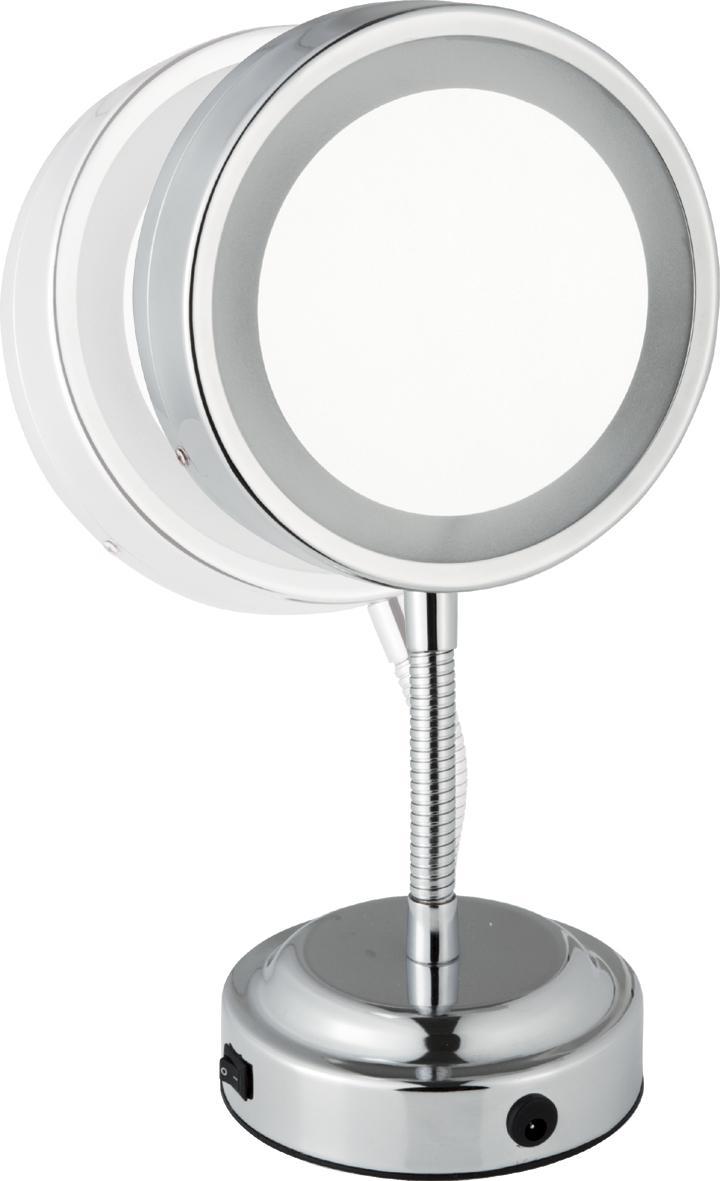 Oglinda cu picior flexibil Sanwood Katharina 3x, lumina LED, 11cm