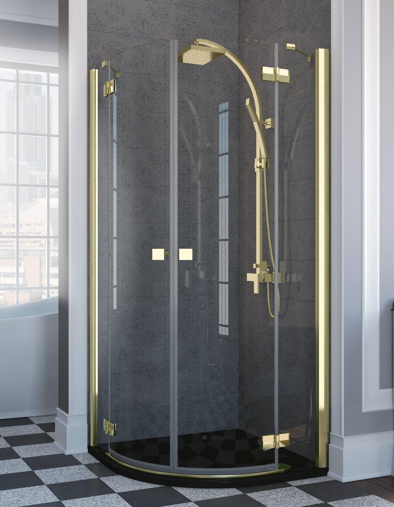 Cabina de dus semirotunda cu usi batante Radaway Almatea PDD Gold 80x80cm
