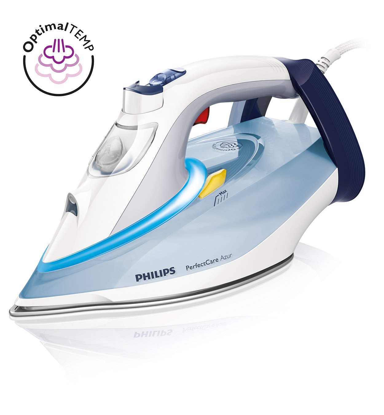 Fier de calcat Philips PerfectCare Azur GC4910/10 2400W, talpa SteamGlide Plus, Auto Off, white