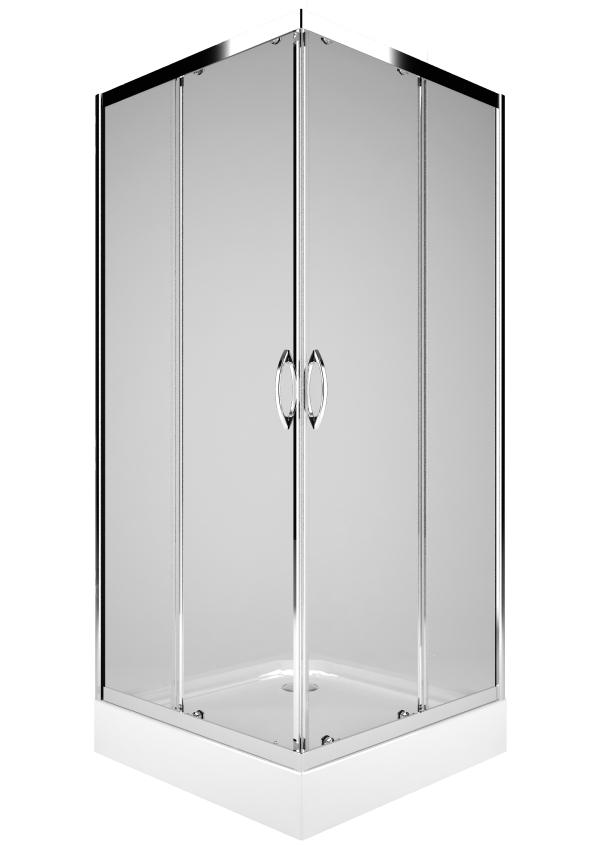 Cabina de dus patrata Kolo Rekord 80x80, profil crom lucios, sticla clara 4mm