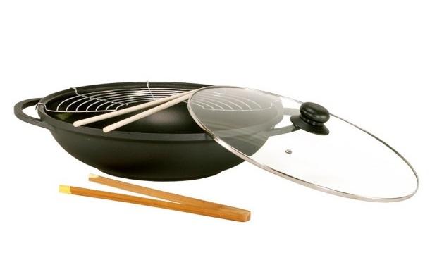 Tigaie wok cu capac Karl Kruger Leipzig, 36 cm, interior antiaderent, aluminiu turnat, capac