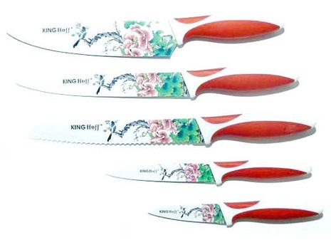 Set de cutite cu lama inox KingHoff, model floral, 5 piese