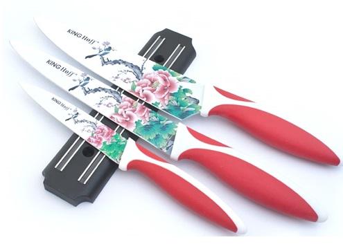 Set de cutite cu lama inox KingHoff, model floral, 4 piese