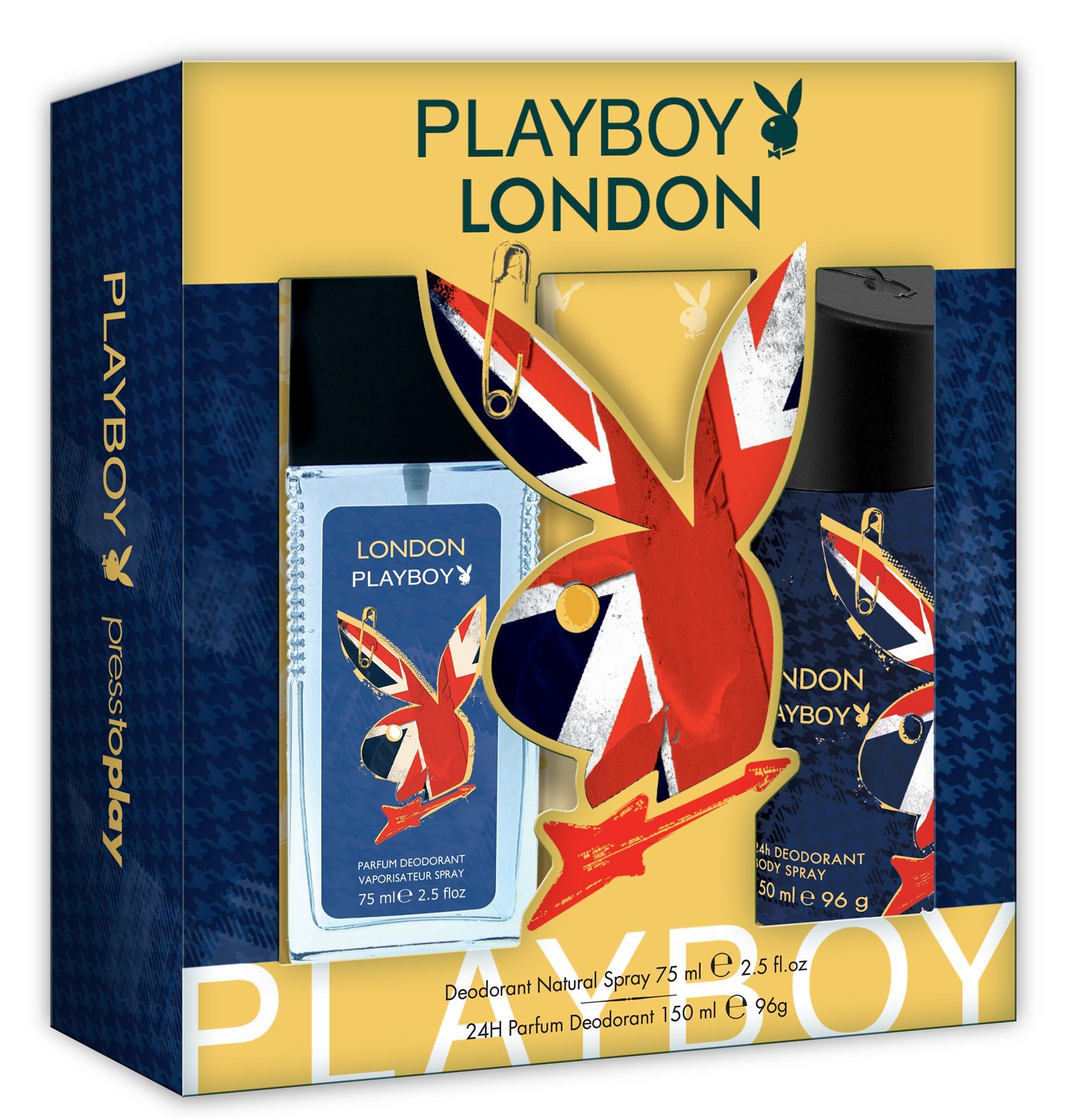 Set Barbati Playboy London Deo Natural Spray 75ml + Deodorant 150ml