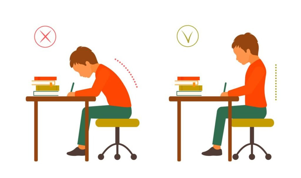 Poziția corectă la calculator